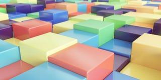 Abstracte achtergrond van multi-colored kubussen - het 3D teruggeven Royalty-vrije Stock Foto's