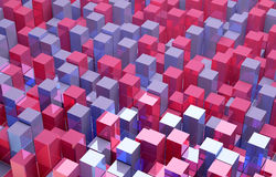 Abstracte achtergrond van rode en blauwe kubussen Royalty-vrije Stock Afbeelding