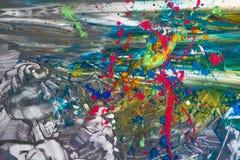 Abstracte achtergrond van vrij-vorm het schilderen Royalty-vrije Stock Afbeelding