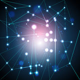 Abstracte achtergrond, veelhoek en kleurrijke atomen Royalty-vrije Stock Afbeelding