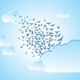 Abstracte achtergrond vliegende vogelsillustratie Stock Afbeelding