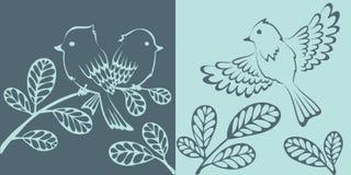 Abstracte achtergrond - vogels op boom royalty-vrije illustratie