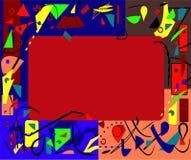 Abstracte achtergrond weinig kleurrijke buitensporige vormen lege centrale rechthoek stock fotografie