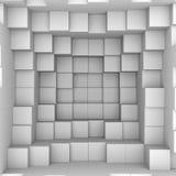 Abstracte achtergrond: witte dozen Stock Afbeeldingen