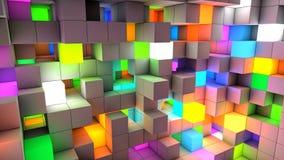 Abstracte achtergrondkleuren lichte kubussen royalty-vrije illustratie