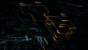 Abstracte achtergrondkrings elektronische lijn voor technologieconcept met ondiepe diepte van verwerkte gebiedsdark en korrel stock footage
