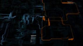 Abstracte achtergrondkrings elektronische lijn voor technologieconcept met ondiepe diepte van verwerkte gebiedsdark en korrel stock video