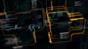Abstracte achtergrondkrings elektronische lijn voor technologieconcept met ondiepe diepte van verwerkte gebiedsdark en korrel royalty-vrije illustratie