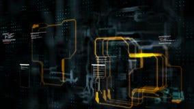 Abstracte achtergrondkrings elektronische lijn voor technologieconcept met ondiepe diepte van verwerkte gebiedsdark en korrel stock illustratie