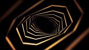 Abstracte activiteit met roterende gouden tunnel op zwarte achtergrond, naadloze lijn animatie Abstracte trechter van geel vector illustratie