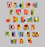 Abstracte alfabetdoopvont Document verwijderde stijl Stock Fotografie