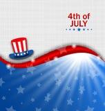 Abstracte Amerikaanse Affiche voor Onafhankelijkheid Dag de V.S., Four Juli, Hoed Oom Sam Stock Foto's