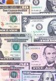 Abstracte Amerikaanse dollarrekeningen van verschillende benamingsachtergrond royalty-vrije stock afbeeldingen