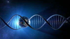 Abstracte animatie van aarde binnen een gloeiende DNA-van een lus voorzien bundel -