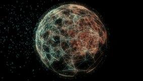 Abstracte animatie van de sferische achtergrond van voorzien van een netwerklijnen stock video