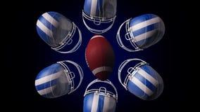 Abstracte animatie van een rugbybal en een blauwe en witte hemlets die en een cirkel spinnen die maken, op zwarte achtergrond wor vector illustratie