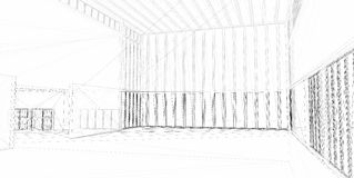 Abstracte architecturale 3D bouw Stock Afbeelding