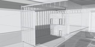 Abstracte architecturale 3D bouw stock afbeeldingen