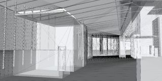Abstracte architecturale 3D bouw royalty-vrije stock foto's