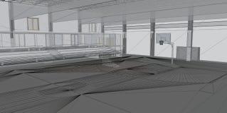 Abstracte architecturale 3D bouw royalty-vrije stock afbeeldingen