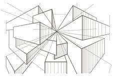 Abstracte architecturale schets van dozen in perspectief Stock Afbeeldingen