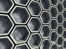 Abstracte architectuurachtergrond Concrete Hexagon Muur Royalty-vrije Stock Foto's