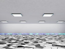 Abstracte architectuurachtergrond, leeg binnenland en muren het 3d teruggeven Stock Afbeeldingen