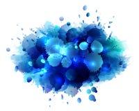 Abstracte artistieke achtergrond van blauwe verf Stock Foto