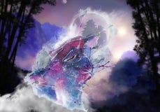 Abstracte artistieke bewolkte waterverfillustratie van een unieke kleurrijke wolf op een getrokken natuurlijke achtergrond stock foto's