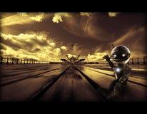 Abstracte artistieke 3d illustratie van een kleine robot in een uniek stormachtig wegkunstwerk stock foto
