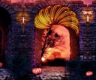 Abstracte artistieke 3d teruggevende illustratie van een kasteelmuur op een kleurrijke rode hemelachtergrond stock illustratie