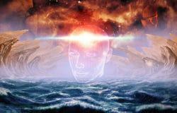 Abstracte Artistieke Kunstmatige intelligentieinterface in A die natuurlijke Achtergrond trekken vector illustratie