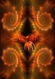 Abstracte artistieke vurige adelaar op een unieke vurige fractal achtergrond stock illustratie