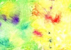 Abstracte artistieke waterverfachtergrond & x28; geel met heldere splashes& x29; Stock Foto