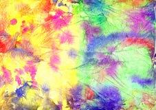 Abstracte artistieke waterverfachtergrond & x28; gemengde gele kleuren, pink& x29; Stock Fotografie