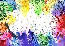 Abstracte artistieke waterverfachtergrond gemengde kleuren, dalingen Royalty-vrije Stock Afbeeldingen