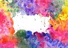 Abstracte artistieke waterverfachtergrond & x28; gemengde kleuren, dalingen en & x22; zoute effect& x22; & x29; Stock Afbeelding