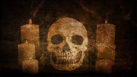 Abstracte Artistieke Wijnoogst Geschilderde die schedel door Kaarsenachtergrond wordt omringd vector illustratie