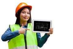 Abstracte Aziatische vrouweningenieur met geïsoleerde achtergrond Stock Afbeelding