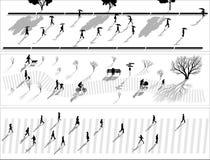 Abstracte banner van de silhouetten van menigtemensen met schaduwen. Royalty-vrije Stock Foto