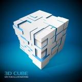 Abstracte banners 3d kubus met uitgedreven veelhoeken vector illustratie