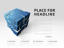 Abstracte banners 3d kubus met uitgedreven veelhoeken stock illustratie