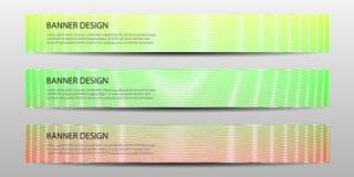 Abstracte banners met het gekleurde golvende van het ontwerpmalplaatjes van het lijnen jaarverslag ontwerp van het de Affichemalp Stock Foto