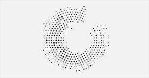 Abstracte bedrijfsachtergrond met cirkel halftone ontwerp in de vorm van een open cirkel van zwarte punten rond de cirkel stock video