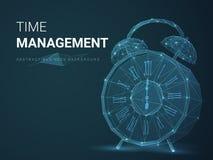 Abstracte bedrijfsvector die als achtergrond tijdbeheer met sterren en lijnen in vorm van een wekker op blauwe achtergrond afschi stock illustratie