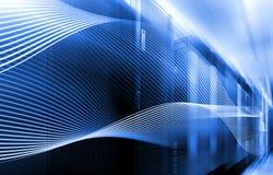 Abstracte beeld Lichte sporen visualisatie van hakkeraanvallen op de server van informatiegegevens royalty-vrije illustratie