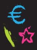 abstracte beelden die met een borstel, euro symbool worden gemaakt, vector illustratie