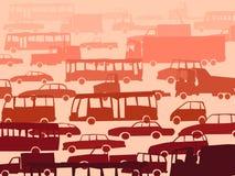 Abstracte beeldverhaalachtergrond met vele auto's. Stock Afbeeldingen