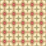 Abstracte beige en rode bloemen geometrische Naadloze Textuur Stock Foto's