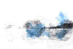Abstracte Bergheuvel op waterverf het schilderen achtergrond stock foto